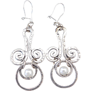 Sterling Silver Cultured Pearl Hammered Swirl Earrings