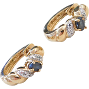 Sterling Silver Gold Plated Sapphire and Diamond Huggie Hoop Earrings