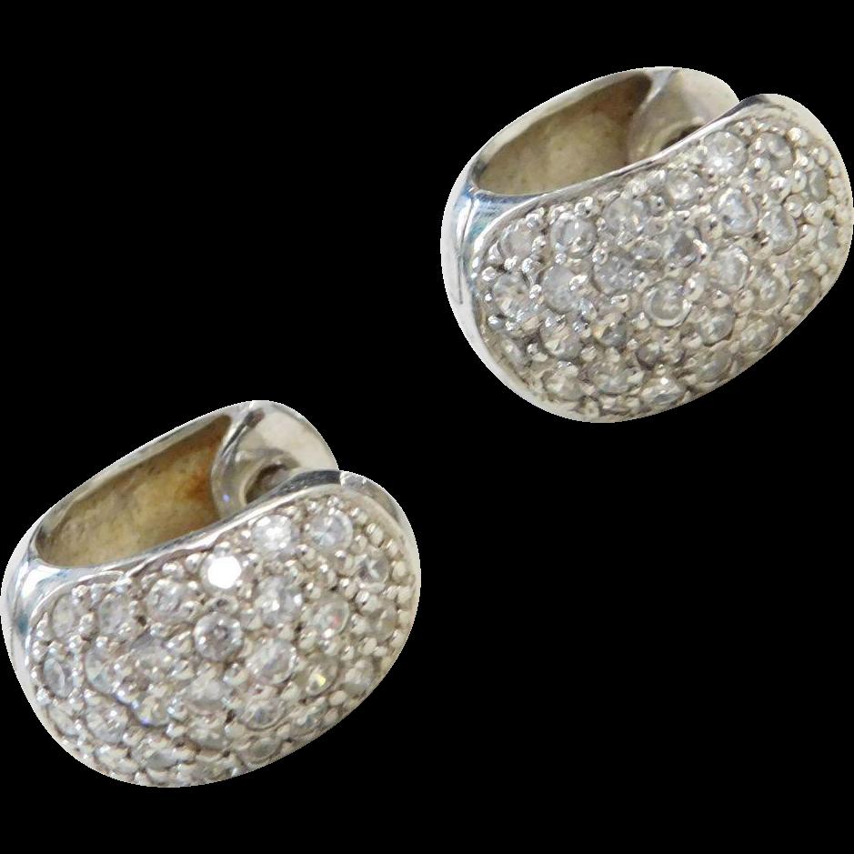 sterling silver faux diamond huggie hoop earrings from. Black Bedroom Furniture Sets. Home Design Ideas