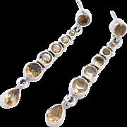 Sterling Silver Long Citrine Earrings