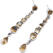 Sterling Silver Long Citrine Earrings
