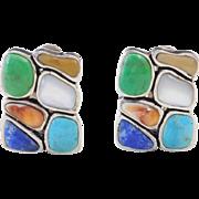 Sterling Silver Stone Clip On Earrings