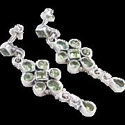 Sterling Silver Long Peridot Dangle Earrings