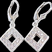 Sterling Silver Faux Diamond Earrings ~ Lever Backs