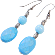 Sterling Silver Turquoise and Amazonite Earrings
