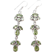 Sterling Silver Long Peridot Earrings