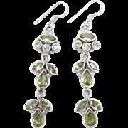 Sterling Silver Long Peridot Earrings