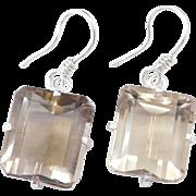Sterling Silver Big Smoky Quartz Earrings