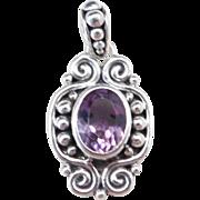 Sterling Silver Ornate Amethyst Pendant