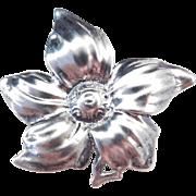 Sterling Silver Big Flower Pin / Brooch