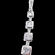 Sterling Silver Long Faux Diamond Pendant