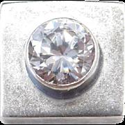 Sterling Silver Faux Diamond Square Pendant