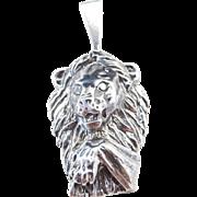 Sterling Silver Lion Head Pendant
