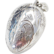 Sterling Silver Etched Egg Pendant