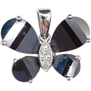 Sterling Silver Black Onyx and Faux Diamond Butterfly Pendant