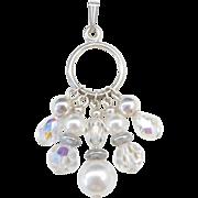 Sterling Silver Faux Pearl and Aurora Borealis Pendant