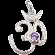 Sterling Silver Amethyst Om Symbol Pendant
