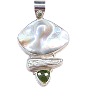 Big Sterling Silver Baroque Pearl, Mother of Pearl and Peridot Pendant