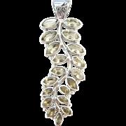 Sterling Silver LONG Citrine Leaf Pendant