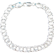 "Sterling Silver Double Link Charm Bracelet ~ 8"""