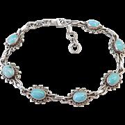"Sterling Silver Green Turquoise Bracelet ~ 7 3/8"" - 8 1/4"""