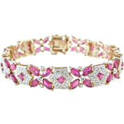 """Sterling Silver and Rose Gold Plated Created Ruby and Genuine Diamond Bracelet ~ 7 3/8"""""""