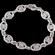 "Sterling Silver Butterfly Bracelet ~ 7 1/4"""