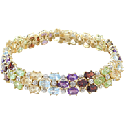 Sterling Silver Yellow Gold Plated Colorful Gemstone and Diamond Bracelet ~ 8""