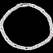 """Sterling Silver Figaro Link Bracelet ~ 7 1/2"""""""