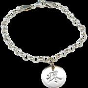 """Sterling Silver LOVE Kanji Bracelet 7 1/4"""""""