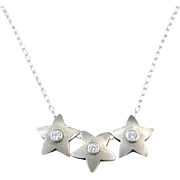 Sterling Silver Faux Diamond Star Necklace ~ 18""