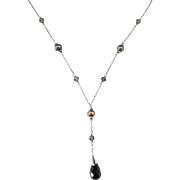 """Sterling Silver Cultured Pearl, Smoky Quartz and Onyx Lariat Necklace ~ 16"""" - 18"""""""