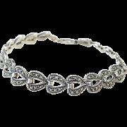 "Sterling Silver Marcasite Heart Bracelet ~ 7 3/4"""
