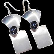 Sterling Silver Big Onyx Earrings