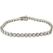 Sterling Silver Faux Diamond Tennis Bracelet ~ 7 1/4""