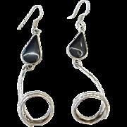 Sterling Silver Long Black Enamel Earrings