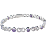 Sterling Silver Faux Amethyst and Faux Diamond Infinity Bracelet ~ 7 1/2""