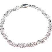 Sterling Silver Loose Twisted Rope Bracelet ~ 8""