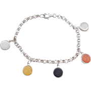 Sterling Silver Multi Color Jade Kanji Bracelet ~ 7 1/2""