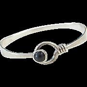 """Sterling Silver Onyx Bangle Bracelet ~ 7"""""""