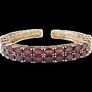 Sterling Silver Gold Plated Garnet Cuff Bracelet