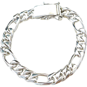"Sterling Silver Heavy Men's Figaro Link Bracelet ~ 8 3/4"" ~ 58.1 Grams"
