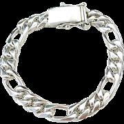 "Sterling Silver Heavy Men's Figaro Link Bracelet ~ 8 3/4"" ~ 58.1 Grams"