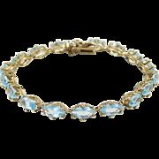 "Sterling Silver Gold Plated Blue Topaz Bracelet ~ 7 1/4"""