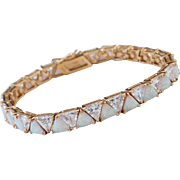 """Sterling Silver Rose Gold Plated Opal and Faux Diamond Bracelet ~ 6 1/2"""""""