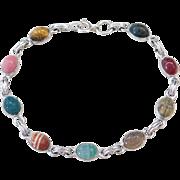 "Sterling Silver Stone Scarab Bracelet ~ 7 1/2"""