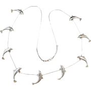Sterling Silver LONG Dolphin Necklace ~ 29""