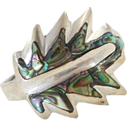 Sterling Silver Abalone Shell Leaf Ring