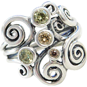 Sterling Silver Gemstone Swirl Ring