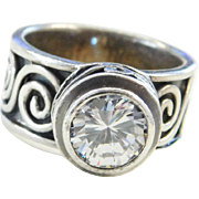 Sterling Silver Faux Diamond Oxidized Swirl Ring